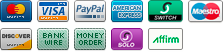 We accept Google Checkout, Amazon Checkout, Paypal, Visa, Discovery, Mastercard, American Express, BillMeLater and USPS Money Order